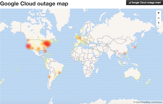 Google Cloud Outage Disrupts Youtube Snapchat Usage In Us And - Us-cloud-map